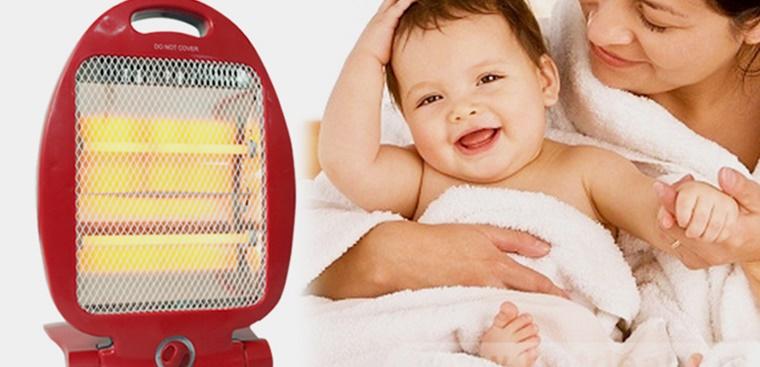 Đèn sưởi là vật dụng quan trọng trong danh sách đồ sơ sinh mùa thu đông cần mua